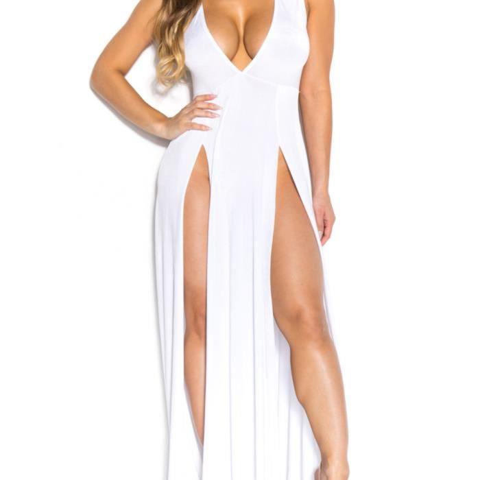 Femme SEX Robe Longue de Cocktail Soirée Fendue Col V Sans Manches Coupe Cintré Fibres Polyester