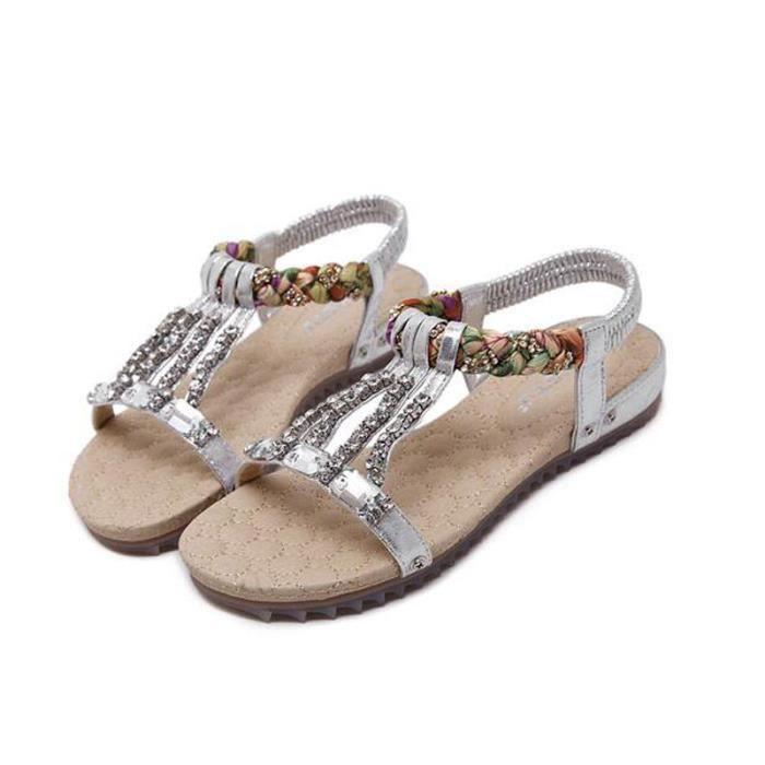 Sandales femmes d'été chaussures en cristal féminin plat KIANII®- Argent
