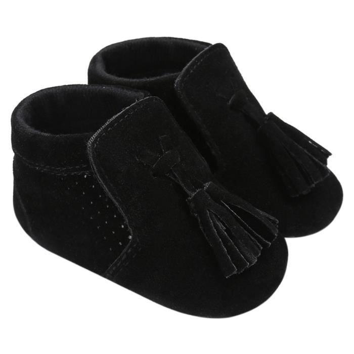 Frankmall®Bébé Chaussures Beaux glands garçon fille berceau semelle douce espadrilles chaussures NOIR#WQQ0926508