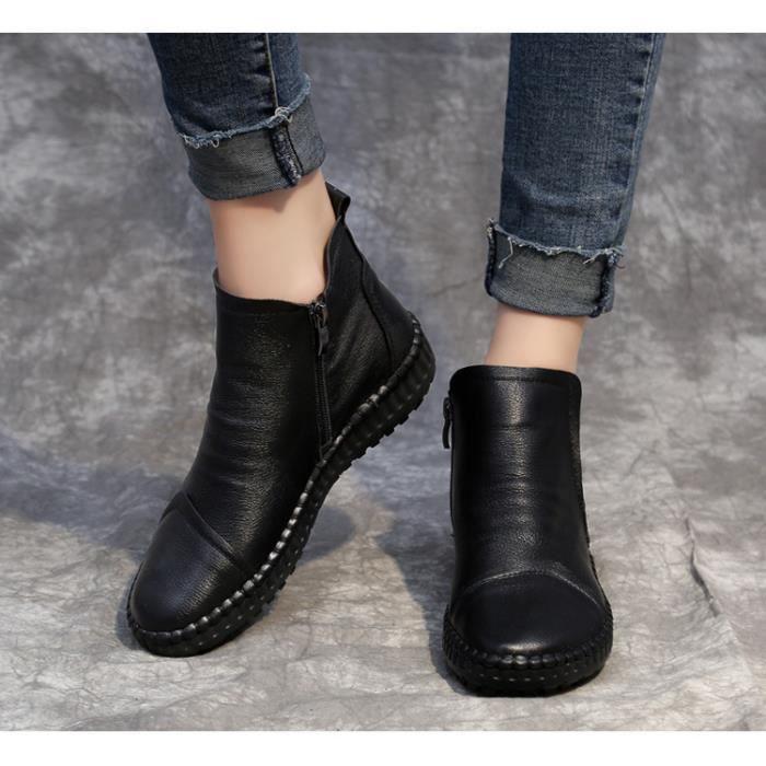 Bottes Femmes Hiver Longues Bottes Pour Femmes élégant Confortable Plates Haute Women Shoes Plus de cachemire Première couche de c