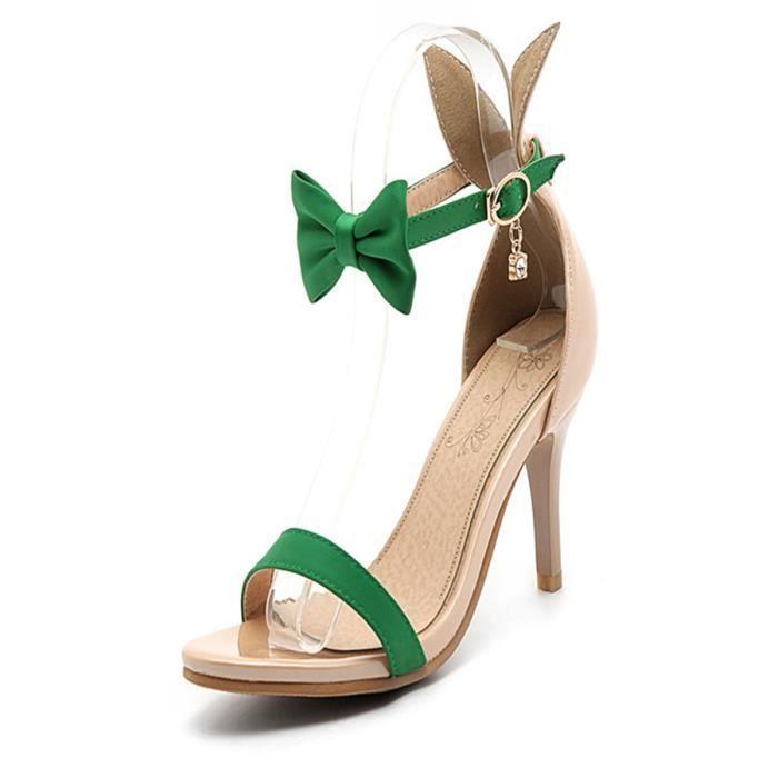 Sandales Chic Bow Noeud avec boucle cheville Chaussures à talons hauts femmes 4285704