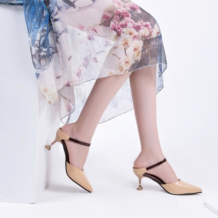 sandales exquis été femme nouveaux talons hauts sexy sandales pointues dames sandales,jaune foncé,39