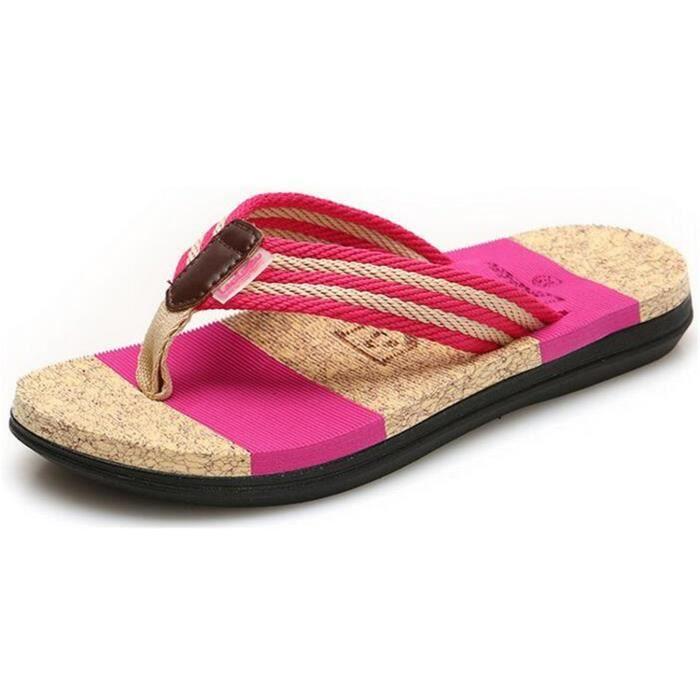 Flip Flops de mariage Chaussures de bain Massage Slipper plage vacances sandales pour femmes Et BR0V3 Taille-37 1-2