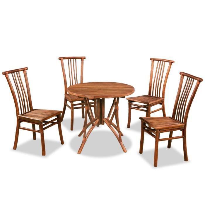 Mobilier de salle à manger 5 pcs Bambou Salon de jardin Ensembles de  meubles d\'exterieur