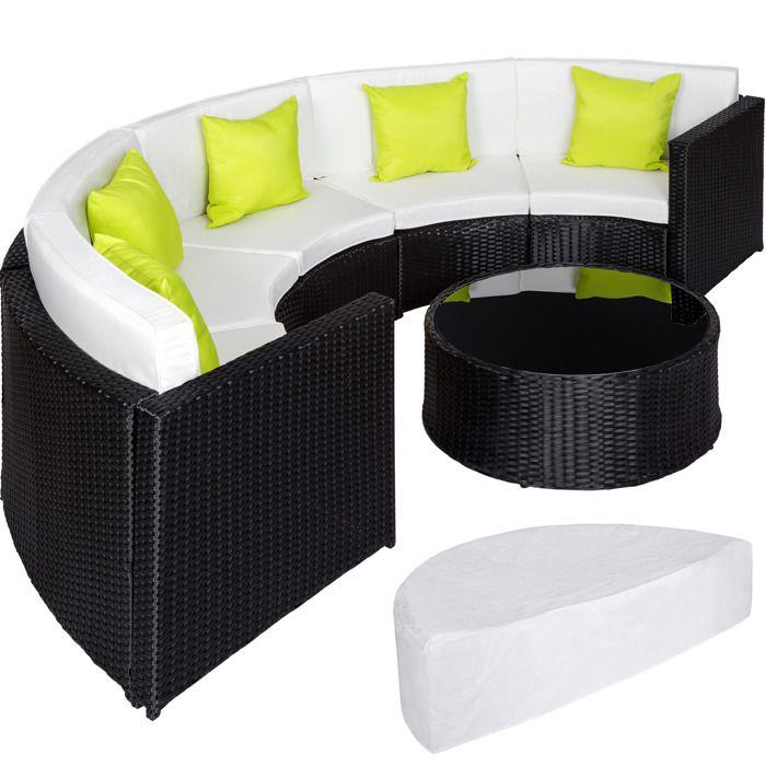 TECTAKE Salon de jardin COLISEUM - 1 Canapé, 1 Table en Résine Tressée et  en Aluminium + 5 Oreillers + 1 Housse de protection Noir