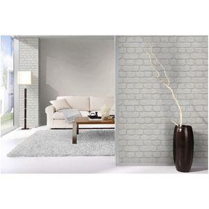 papier peint brique blanc achat vente pas cher. Black Bedroom Furniture Sets. Home Design Ideas