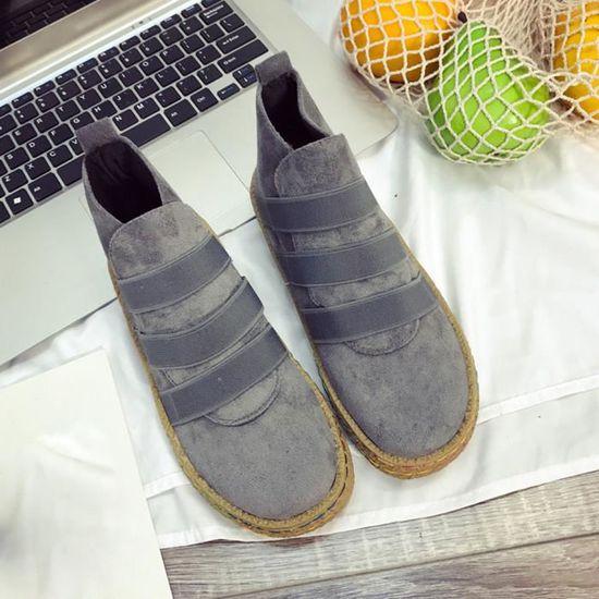 Cheville Bottes Lacets À Haut Aident Chaussures Femelles Douces Plat De Femmes gris Simples En Les Lafayestore®les Daim wvAP8x7qq