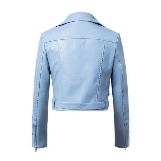 Cuir Zipper Bleu Outwear Femmes Broderie Wll2765 Hiver Court Manteau Parka En Pardessus Veste XwxCn8
