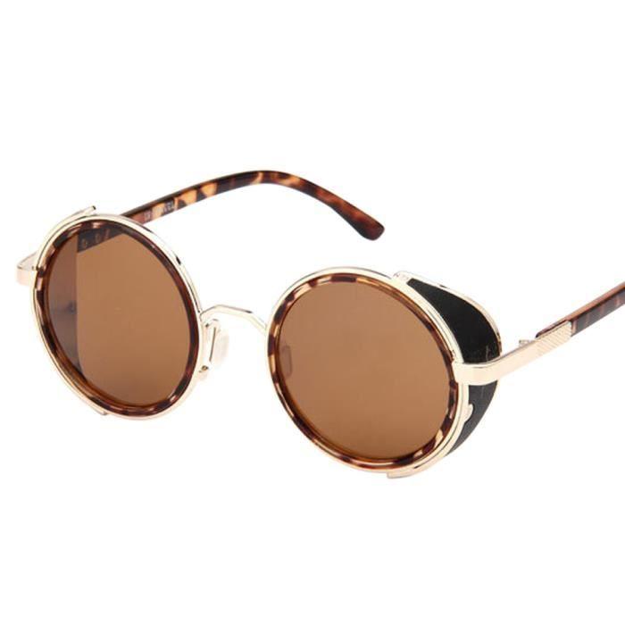Les femmes hommes mode vintage rétro lunettes de mode unisexe aviateur miroir voyage lunettes de soleil Léopard brun clair doré