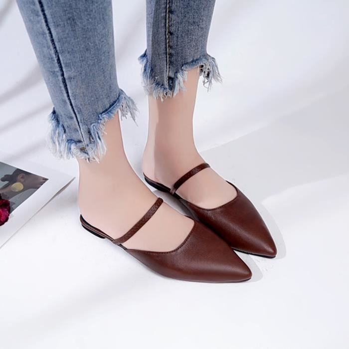Flats Pointed Soft Shoes Slip Femmes's xz Casual on 5719 Bottom Pure Marron Color Toe 9D2YWEHI