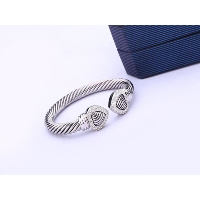 Womens Double Heart Wire Cable Cuff Bangle Pave Stone Unique Elegant Bangle For Fashion Jewelry PGKPF
