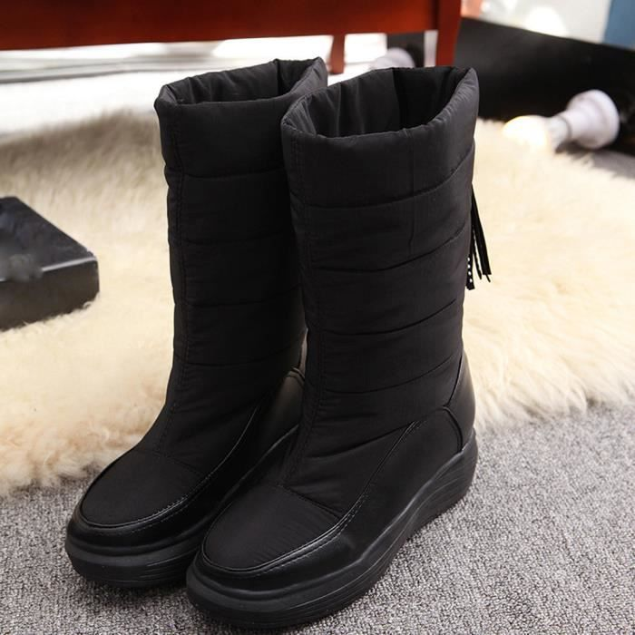 en Chaussures doigt Bottes en Bottes plates hiver Chaussures cotonChaussures en femme noir qwHxTRq6