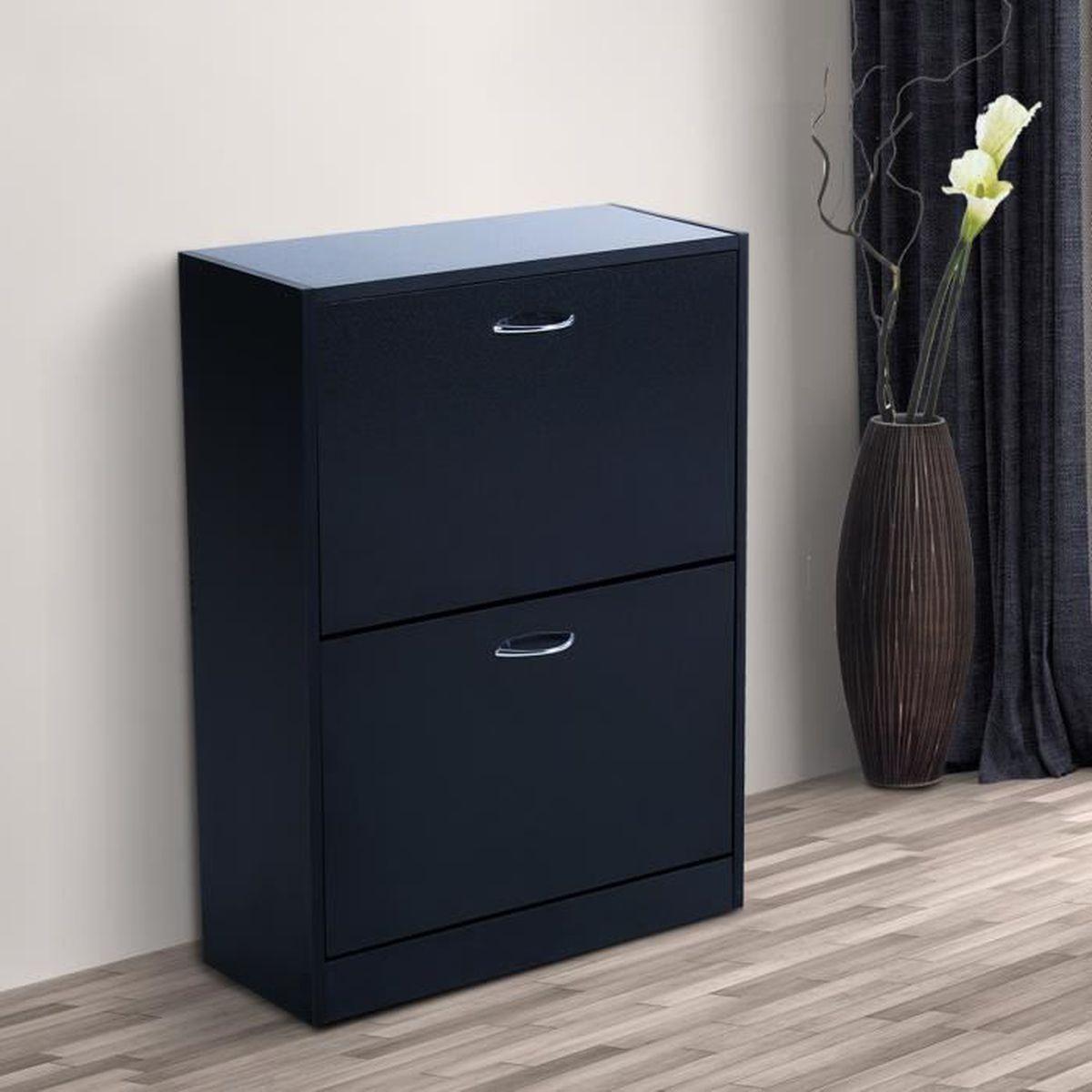 Meuble a chaussure noir 15 homcom meuble armoire for Meuble armoire