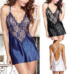 PYJAMA Femmes sexy Lingerie Satin vêtements de nuit linge