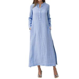 82005aa4ba1 ROBE Femmes Robe Kaftan manches longues en coton uni Ca