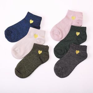 CHAUSSETTES 6 Paires Broderie Amour Glitter Mode Argent Or Soi