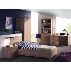 Chambre à coucher complète enfant coloris bois Tom - Achat ...