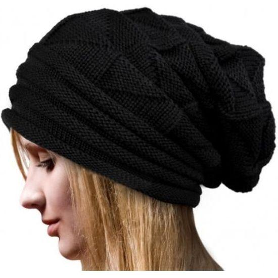 afc17da955b Mode Bonnet Femme Femmes Hiver Chapeau Femme Hiver Beanie Crochet Chapeau  Tricot Chaud Femmes Casquettes -NOIR Noir Noir - Achat   Vente bonnet -  cagoule ...