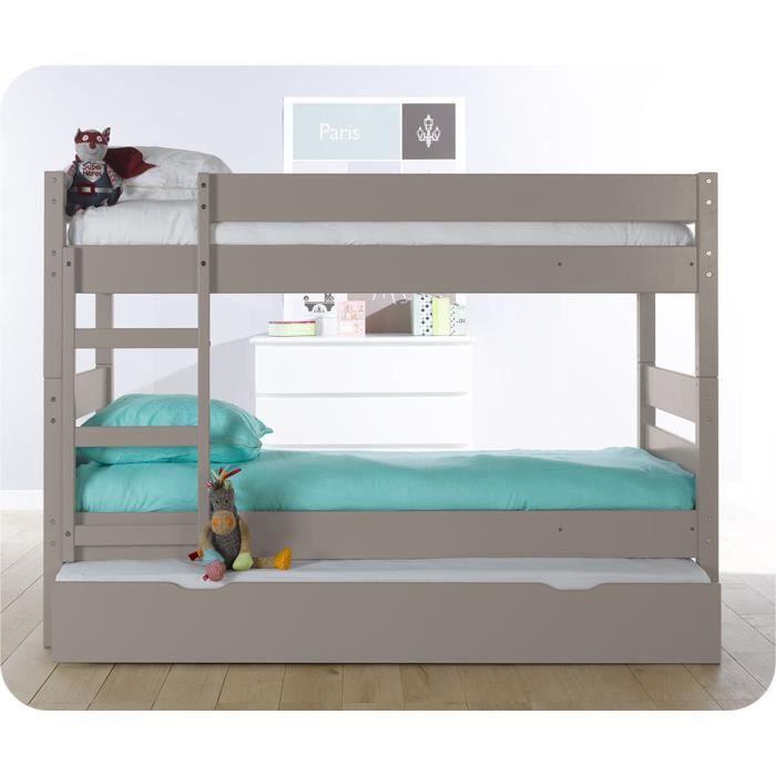 lit superpos enfant 1 2 3 couleur lin avec sommier gigogne achat vente lits superpos s lit. Black Bedroom Furniture Sets. Home Design Ideas