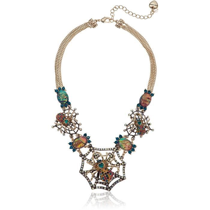 Betsey Johnson Halloween Gold And Hematite Spider Web Frontal Necklace TNVH7