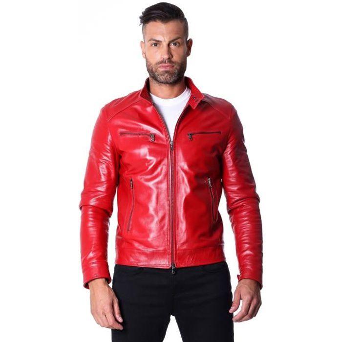 Veste rouge en cuir homme