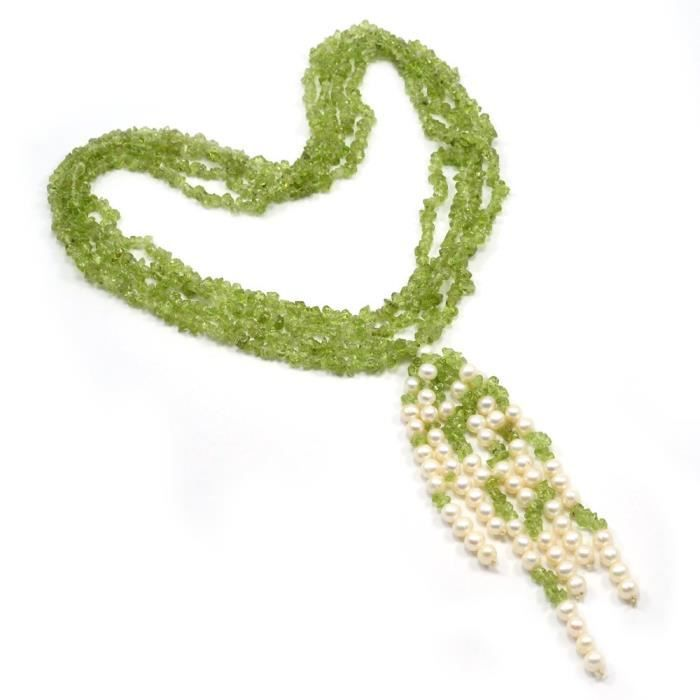 Womens Peridot & Pearl Chips Necklace Pg-110549 MN1DC