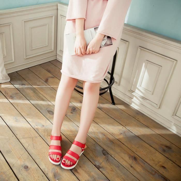 talons hauts-Pure Color Peep Toe Sandals Velcro...