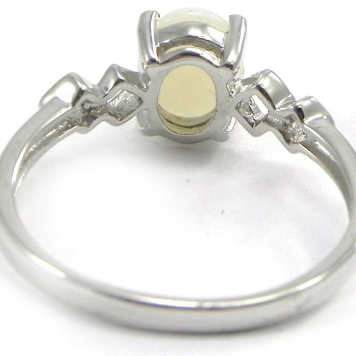 Bague Argent Déesse Opale Blanc