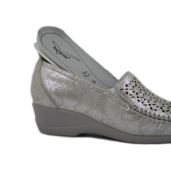 Kelidon ligne mocassin confort chaussures en cuir ivoire / platine avec semelle en caoutchouc souple et anti-dérapant, 2842-E17
