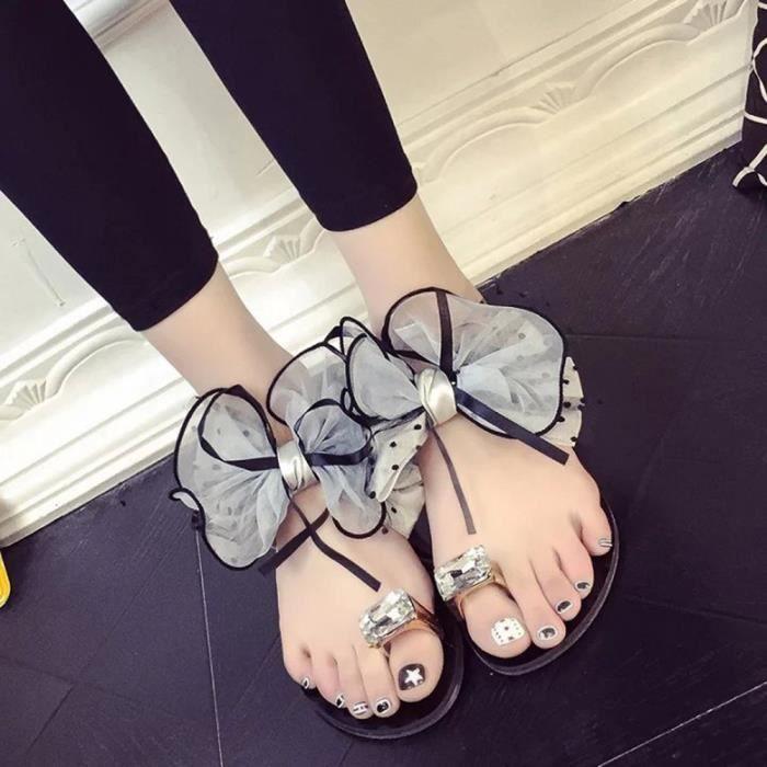 Pantoufle gris Arc De Sport Talon Plat Fleur Plage Toe Sandales Femmes Chaussures pZYFn