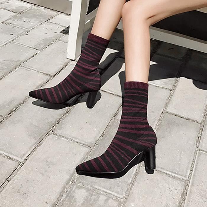 Hauts Zbrures Pointu Femmes Talon De Motif Boot Chaussures Elasticit Pais confor10937 Bottes Talons tqaEASaw