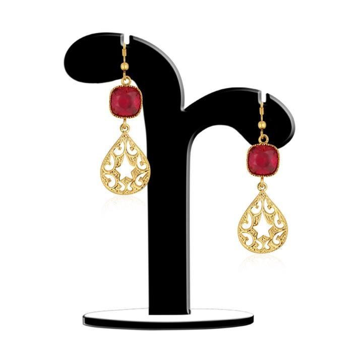 Womens Ruby Color Synthetics Stone Gold Plating Dangle & Drop Hook Earrings For Aier 634 WX81S