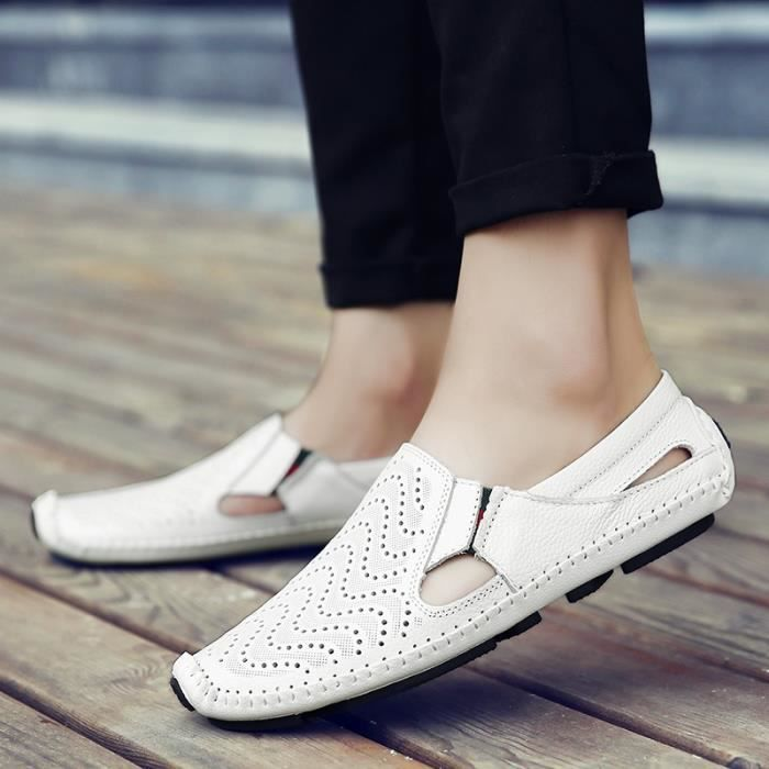 Hommes d'été en cuir véritable Chaussures Chaussures de conduite Casual cuir mocassin souple respirant hommes Flats Chaussures de 7ZTUnEL