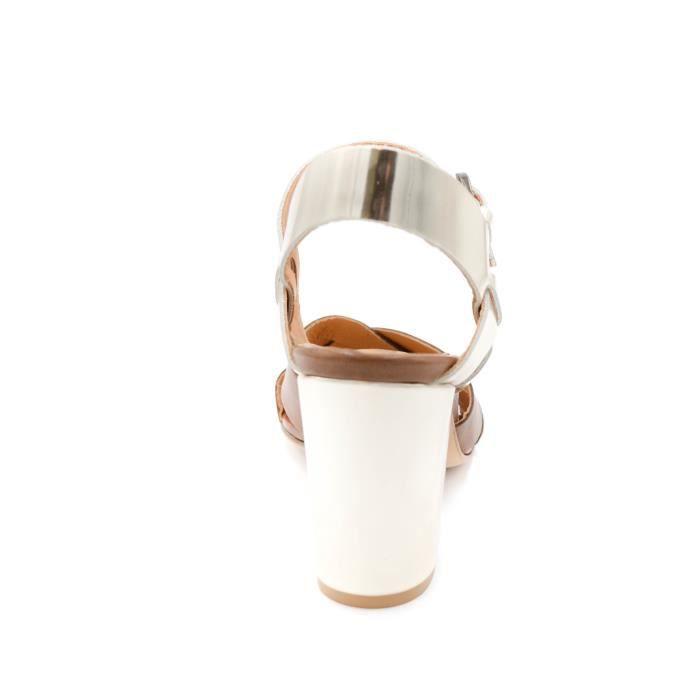 Anna F. Sandale femmecuir caffè-oro Fait en Italie talon8cm art.6421 T. 36