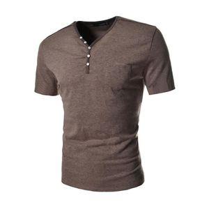 c944f05b88f T-SHIRT T shirt Homme col V pas cher en poche unique avec