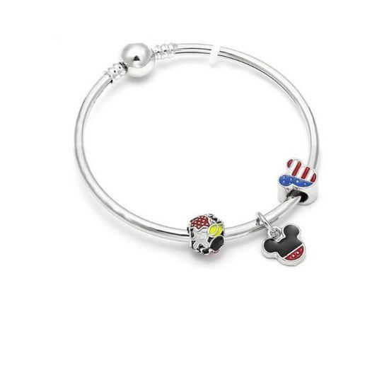 Bracelet Style Pandora Charm s Disney Drapeau Américain Argent 925° - Achat    Vente bracelet - gourmette 1000 et un bijoux. Bracelet Femme Adulte -  Soldes  ... f14f546c1911