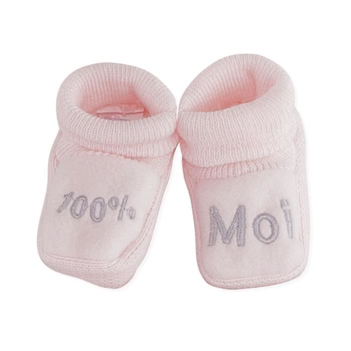 Chaussons brodés bébé Fille TROIS KILOS SEPT - 1 mois Rose et gris \