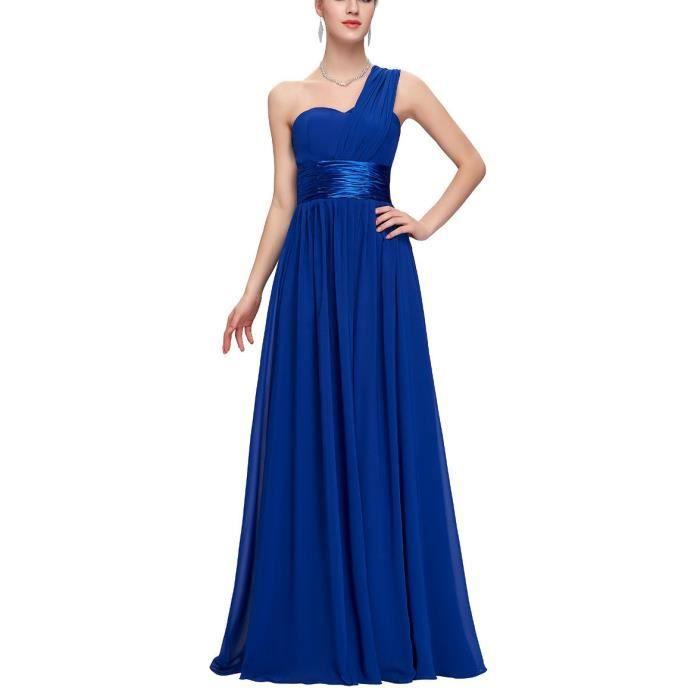 line Mariée A Satin Du Bustier Plancher Plissé Longue Demoiselle Mousseline Bleu Ceinture Une Robe De Épaule D'honneur Princesse 7PTwB4pBq