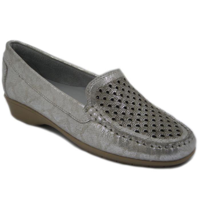Kelidon ligne mocassin confort chaussures en cuir ivoire / platine, talon 3cm et semelle en caoutchouc souple et anti-dérapant,5498