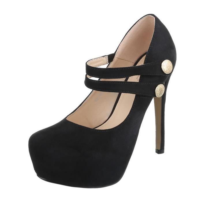 Femme chaussures escarpin High Heels Plateau noir 40