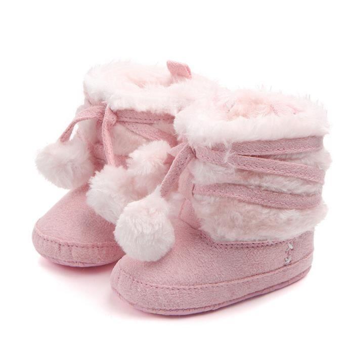 Toddler Fille Garçon Chaud Crochet Knit Botte en Laine Berceau de Neige Chaussures Bottes d'Hiver Rose2LAO-370