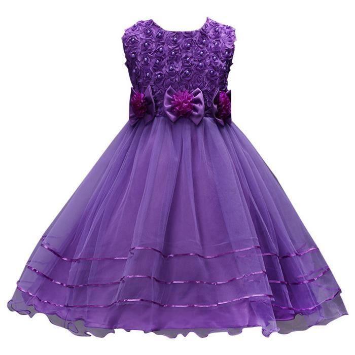 6f360927f59524 Robe violette mariage enfant - Achat / Vente pas cher