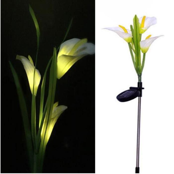 Neufu 3 Led Solaire Lampe Lumiere Lis Fleur Pour Decoration Jardin
