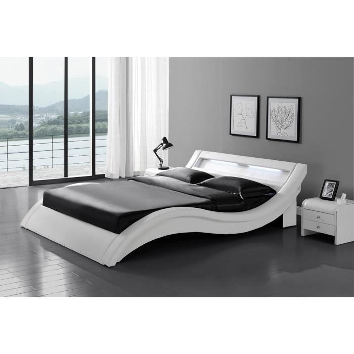 Le Laurine Blanc Cadre De Lit LED En Simili X Cm Achat - Cadre de lit simili cuir