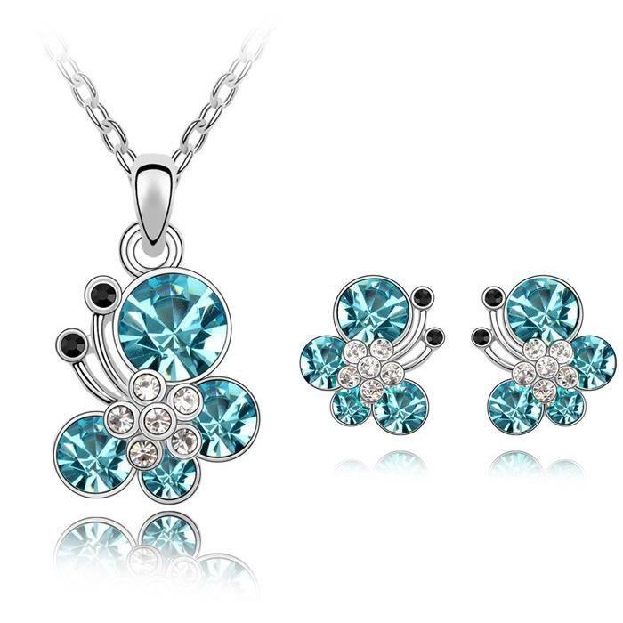 Parure papillons cristaux SWAROVSKI ELEMENTS plaqué or blanc couleur Bleu turquoise
