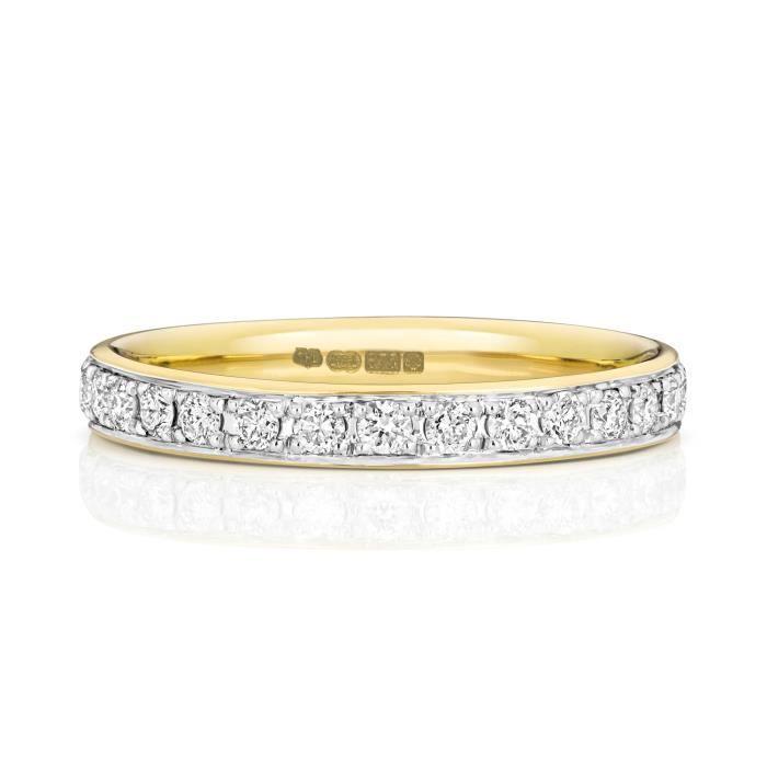 Bague de Mariage-Alliance Femme Eternité 2,7mm Or 750-1000 et Diamant Brillant 0.60 Carat G - SI1