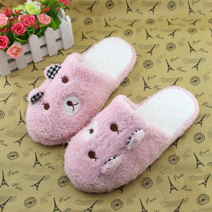 Jolis souliers en coton doux à la maison d'ours-chaussons rembourrés Rose wMhJvdq