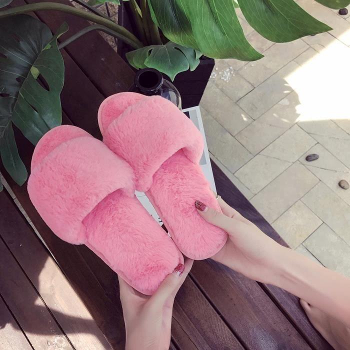 Rouge Fourrure Pastèque Flop Flat Dames Ysz70819492wr Slipper Flip Faux Hotskynie®femmes Fluffy Sandale Chaussures Rqa1w7
