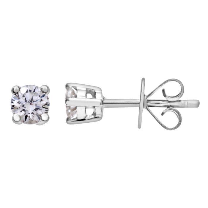 Revoni - Boucles d'oreilles clous en or blanc 18 carats et diamants H-SI - REVCDPE01373W18HSI