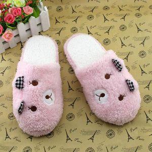 Jolis souliers en coton doux à la maison d'ours-chaussons rembourrés Rose QnuXM7